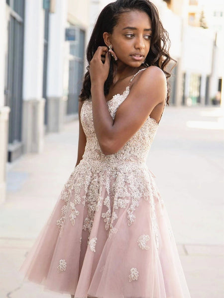 A Line V Neck Short Pink Lace Prom Dresses, Short Pink Lace Formal Homecoming Dresses