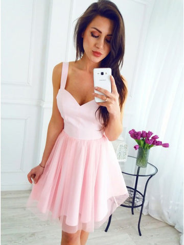 A Line V Neck Short Pink Prom Dresses, Short Pink Formal Homecoming Graduation Dresses