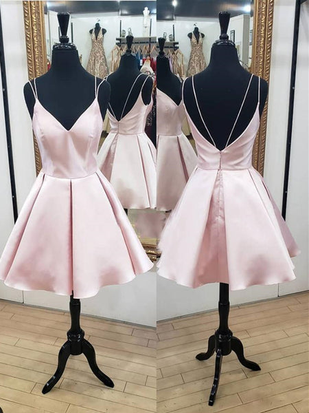 A Line V Neck Short Pink Prom Dresses, Short Pink Homecoming Graduation Dresses