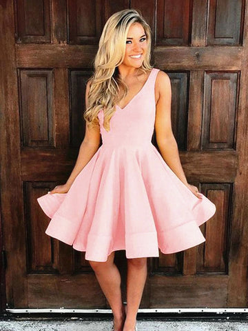 A Line V Neck Short Pink Prom Dresses, Short Pink Satin Formal Homecoming Dresses