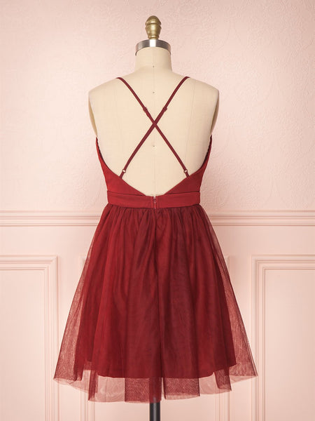 A Line V Neck Short Red Burgundy Tulle Prom Dresses, Short Red Burgundy Graduation Homecoming Dresses