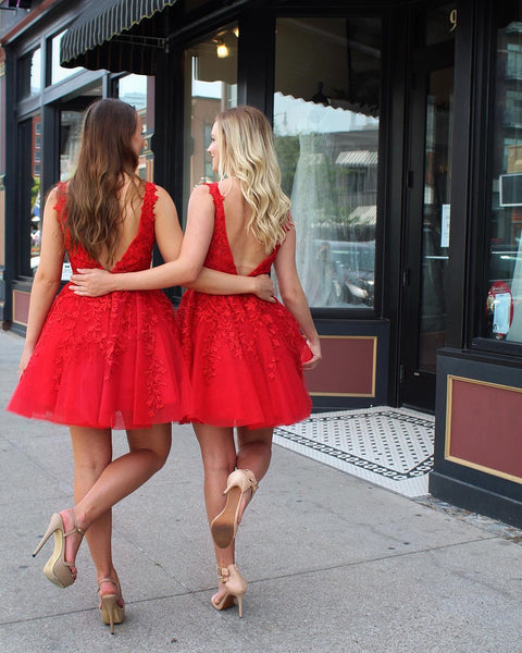 A Line V Neck Short Red Lace Prom Dresses, Short Red Lace Formal Graduation Formal Dresses