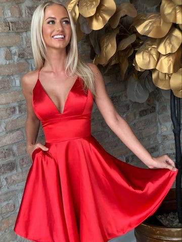 A Line V Neck Short Red Prom Dresses, Short Red Formal Homecoming Graduation Dresses