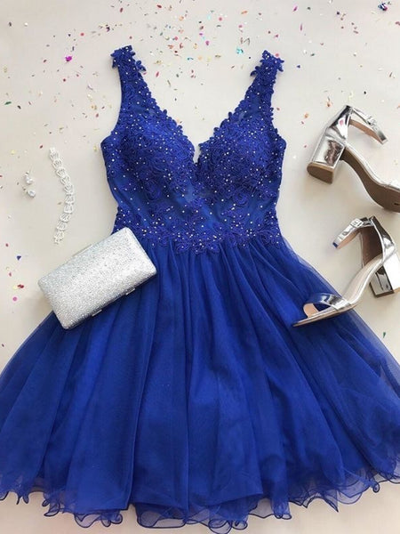A Line V Neck Short Royal Blue Lace Prom Dresses, Short Royal Blue Lace Formal Homecoming Dresses