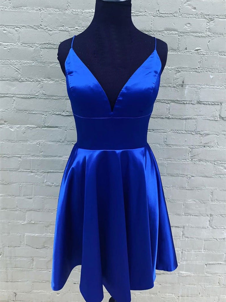 A Line V Neck Short Royal Blue Prom Dresses, Short Royal Blue Formal Graduation Homecoming Dresses