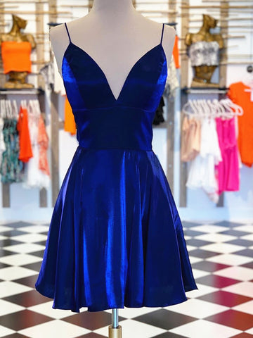 A Line V Neck Short Royal Blue Prom Dresses, Short Royal Blue Formal Homecoming Dresses