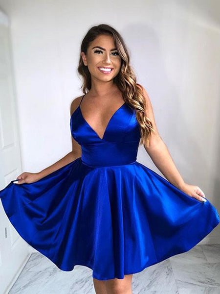 A Line V Neck Short Royal Blue Prom Dresses, Short Royal Blue Graduation Homecoming Dresses