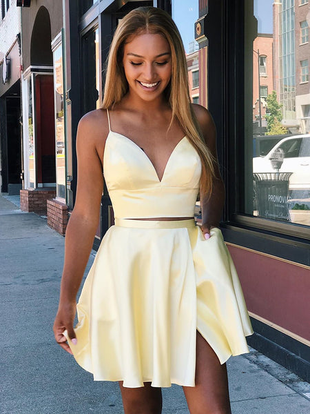 A Line V Neck Short Yellow Prom Dresses, 2 Pieces Short Yellow Formal Homecoming Dresses