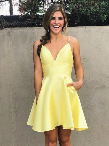 A Line V Neck Short Yellow Prom Dresses, Short Yellow Graduation Evening Formal Dresses