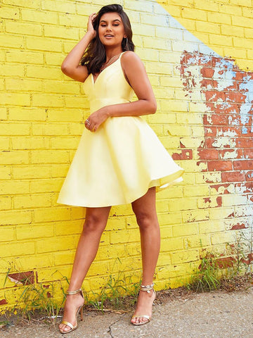A Line V Neck Short Yellow Prom Dresses, Short Yellow V Neck Formal Homecoming Dresses