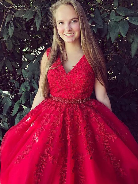 A Line V Neck Sleeveless Red Lace Prom Dresses, Red Lace Formal Dresses, Red Party Dresses
