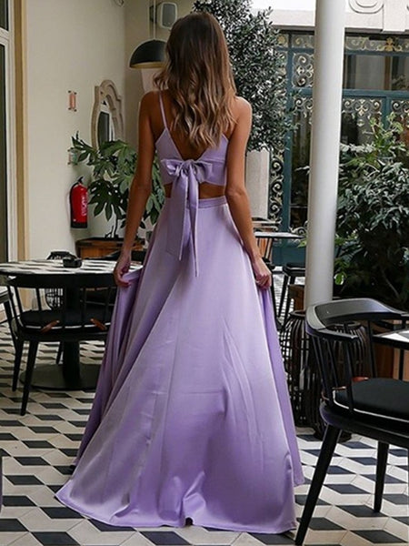 A Line V Neck Two Pieces Purple Prom Dresses, 2 Pieces Lavander Formal Graduation Evening Dresses