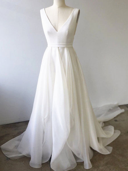 A Line V Neck White Prom Dresses with Train, V Neck Formal Wedding Dresses with Train