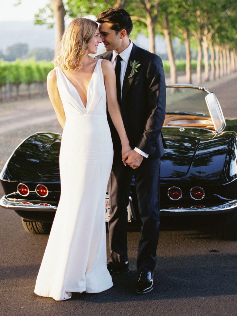 A Line V Neck White Wedding Dresses, White Wedding Gown, Formal Evening Dresses