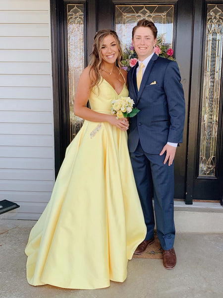 A Line V Neck Yellow Backless Prom Dresses, Backless Long Yellow Formal Graduation Evening Dresses