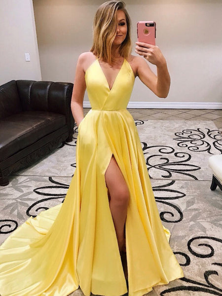 A Line V Neck Yellow Prom Dress with Leg Slit, High Slit Yellow Formal Evening Graduation Dresses Long