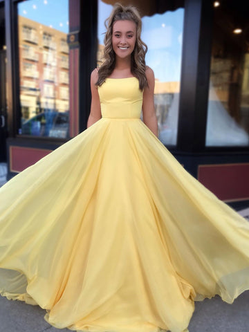 A Line Yellow Backless Floor Length Prom Dresses, Long Backless Formal Graduation Evening Dresses