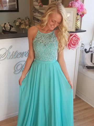 Aqua Lace Prom Dresses Long, Aqua Long Lace Formal Evening Bridesmaid Dresses
