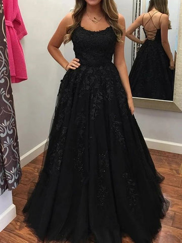 Backless Black Long Lace Prom Dresses, Open Back Black Lace Formal Evening Dresses