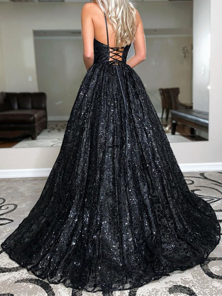 Backless Black V Neck Lace Prom Dresses, Open Back V Neck Black Lace Formal Evening Dresses