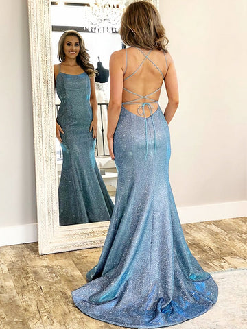 Backless Blue Mermaid Prom Dresses, Open Back Mermaid Blue Formal Evening Dresses