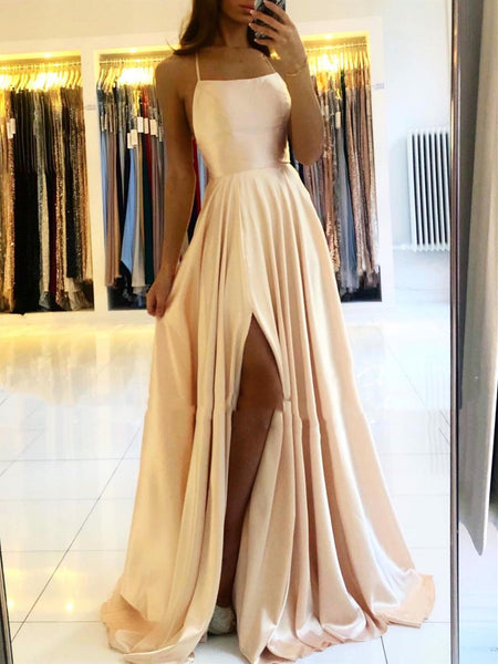 Backless Champagne Pink Blue Long Satin Prom Dresses, Open Back Long Formal Evening Dresses