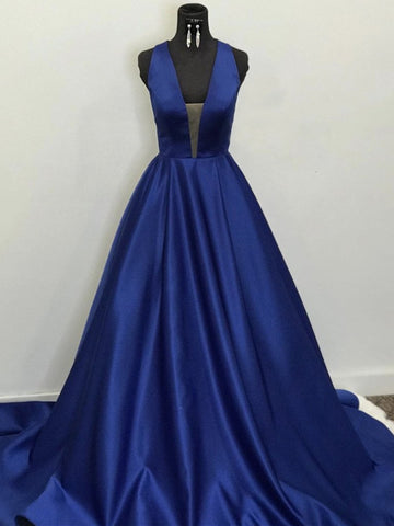 Backless Deep V Neck Blue Long Prom Dresses, Open Back Blue Long Formal Evening Dresses