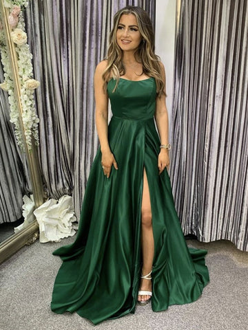 Backless Emerald Green Long Prom Dresses, Open Back Green Long Formal Evening Dresses