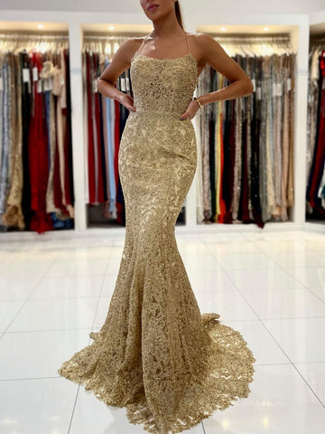 Backless Gold Mermaid Lace Prom Dresses, Open Back Golden Mermaid Lace Formal Evening Dresses
