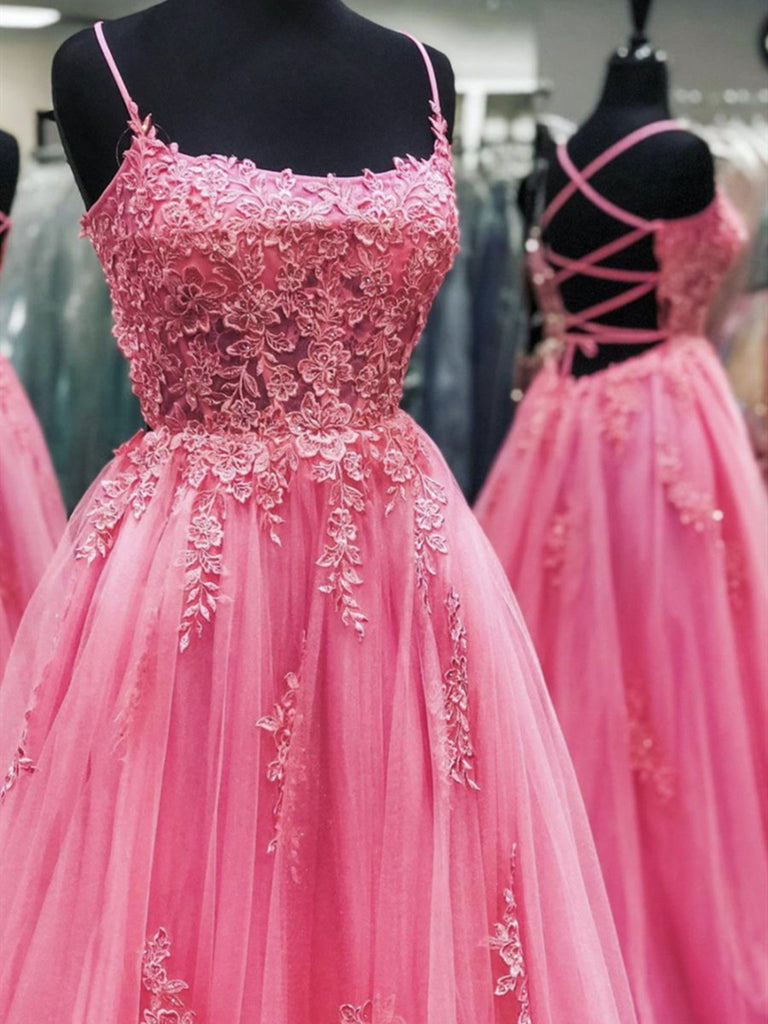 Backless Pink Lace Prom Dresses, Open Back Long Pink Lace Formal Evening Dresses