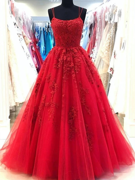 Backless Red Lace Prom Dresses, Open Back Red Lace Formal Evening Graduation Dresses