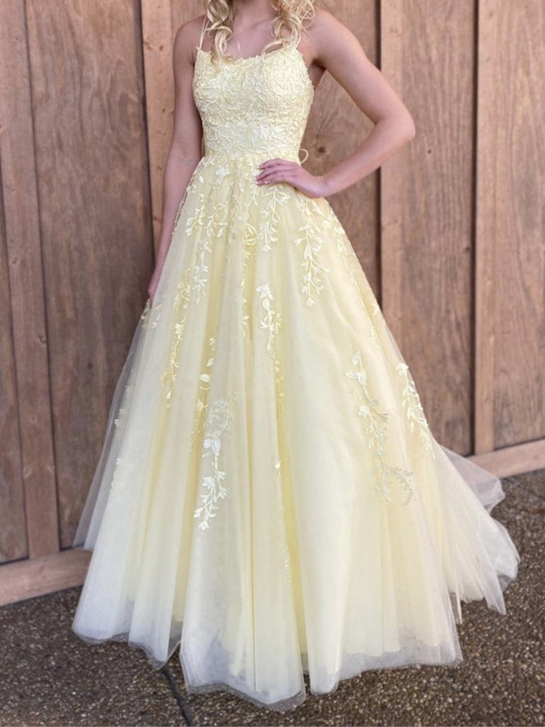 Backless Yellow Lace Prom Dresses, Open Back Yellow Lace Formal Evening Dresses