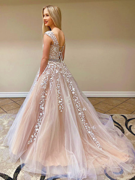 Backless Champagne Lace Prom Dresses, Open Back Long Champagne Lace Wedding Dresses