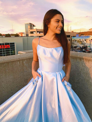 Backless Light Blue Long Prom Dress with Pockets, Backless Long Blue Formal Evening Dresses