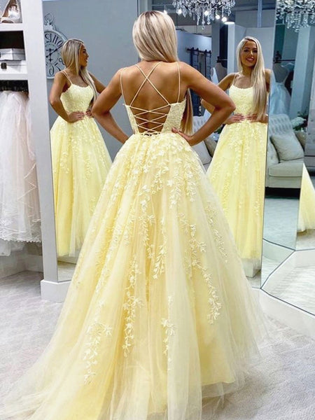 Backless Long Yellow Lace Prom Dresses, Backless Yellow Lace Formal Evening Dresses