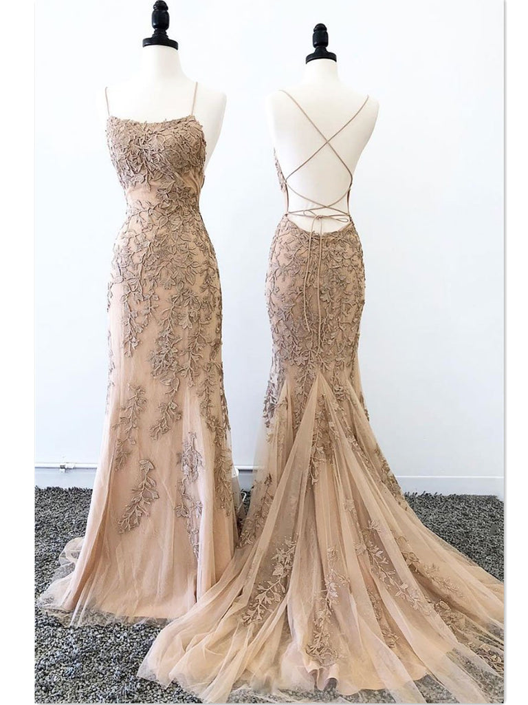 Backless Mermaid Champagne Lace Prom Dresses, Mermaid Champagne Lace Formal Graduation Evening Dresses