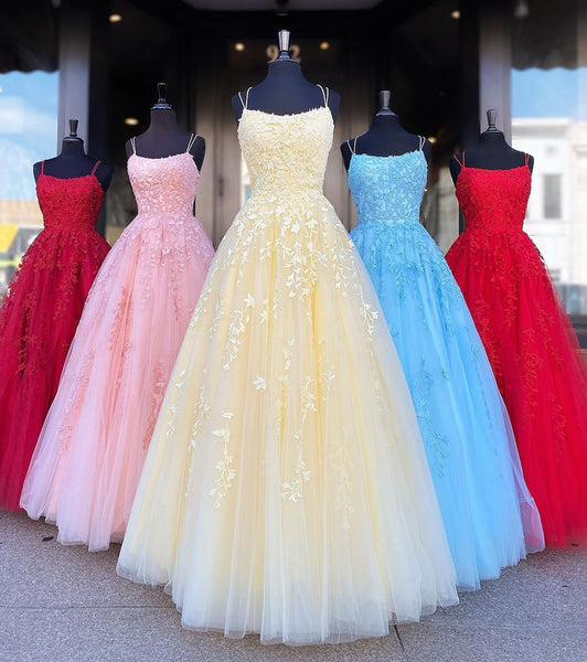 Backless Yellow Pink Blue Red Burgundy Lace Prom Dresses, Backless Lace Formal Evening Bridesmaid Dresses