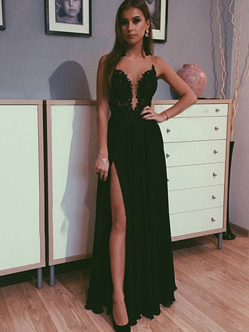 Black Lace Prom Dress with Leg Slit, Black Lace Formal Evening Dresses