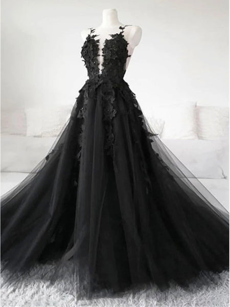 Black Tulle Lace Long Prom Dresses, Black Tulle Lace Formal Evening Dresses