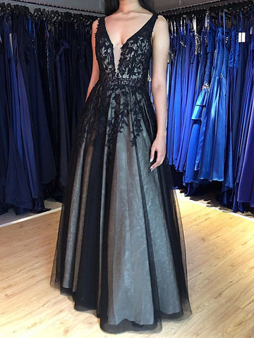 Black V Neck Lace Long Prom Dresses, V Neck Black Long Lace Formal Evening Dresses