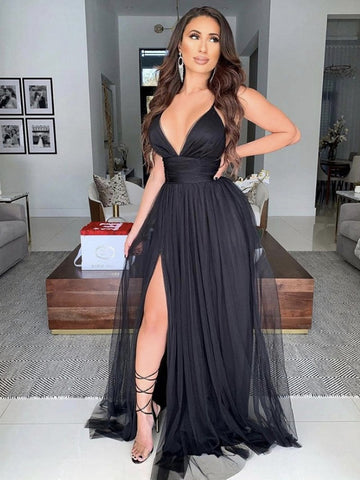 Black V Neck Tulle Long Prom Dresses, Black Tulle Long Formal Evening Dresses