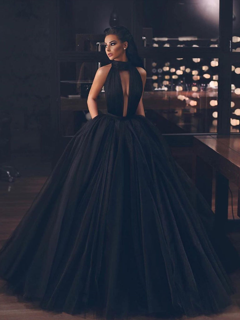 Black Backless Floor Length Prom Gown, Black Backless Long Formal Homecoming Graduation Dresses