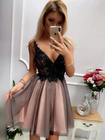 Black Tulle V Neck Short Lace Prom Dresses, Short V Neck Black Lace Homecoming Graduation Dresses