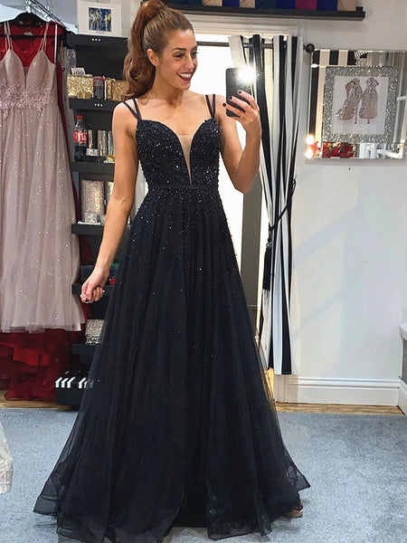 Black V Neck Backless Beaded Prom Dresses, Black Backless Formal Evening Dresses