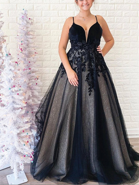 Black V Neck Backless Lace Prom Dresses, Backless Long Black Lace Formal Evening Graduation Dresses