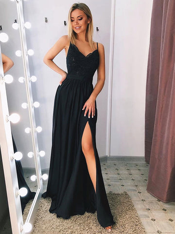 Black V Neck Long Lace Prom Dresses, Black V Neck Lace Formal Graduation Evening Dresses