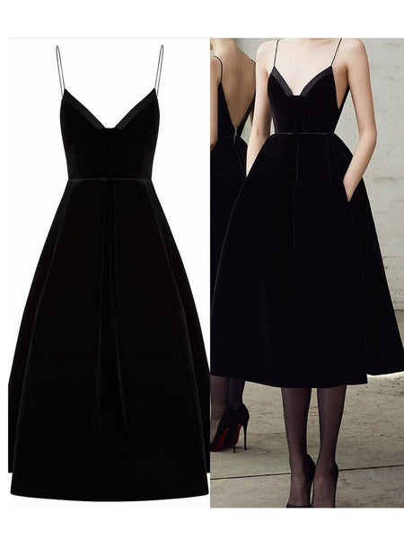 Black V Neck Tea Length Prom Dresses, Short Black V Neck Graduation Formal Homecoming Dresses