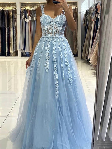 Blue Lace Prom Dresses with Straps, Blue Lace Formal Evening Graduation Dresses