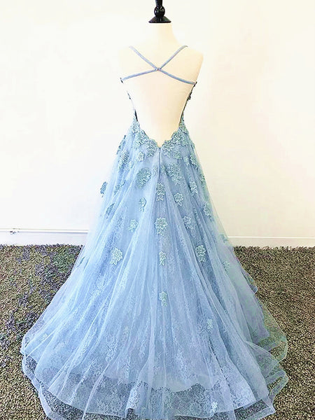 Blue Backless Lace Prom Dresses, Open Back Blue Lace Formal Evening Graduation Dresses