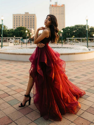 Burgundy High Low Prom Dresses, Wine Red High Low Formal Evening Dresses